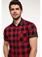 DeFacto Modern Fit Kısa Kollu Kareli Gömlek Kırmızı
